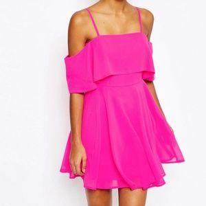 ASOS hot pink off the shoulder dress